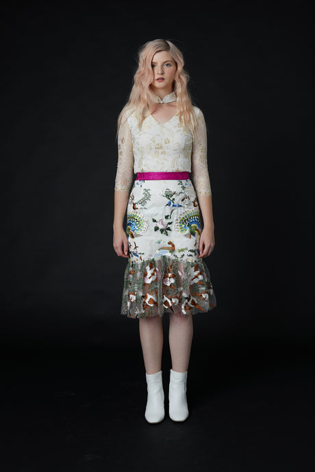 QiaoChu Embroidered Midi Skirt