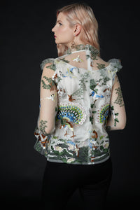 QiaoChu Embroidered Peacock Top