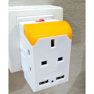 3Way Adaptor with 2x USB Port and Night Light ( Warm White ) with Safety Mark