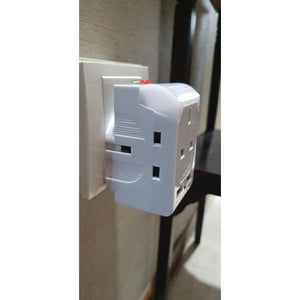 3Way Adaptor with 2x USB Port and Night Light ( White ) with Safety Mark