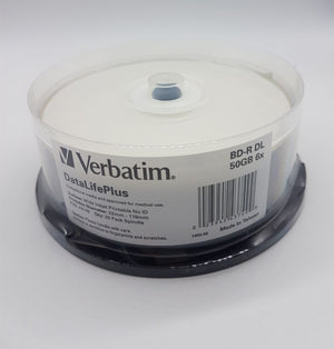 Verbatim Bd-R DL 50GB 25Pcs/Spindle White Ink-jet Printable# 43749