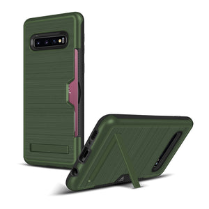 Samsung S10 Case Pro Brushed Plastic + TPU Protective Shell with Card Holder and Kickstand