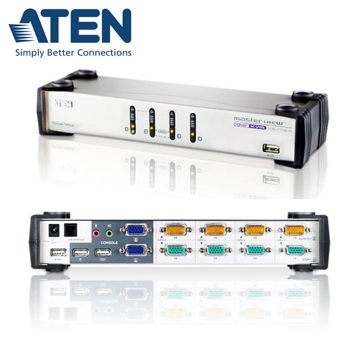 KVMP Switch  4-Port USB VGA Dual Display /Audio Aten CS1744