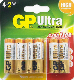 GP Alkaline Battery Size AA LR6 1.5V  4+2 pc pak