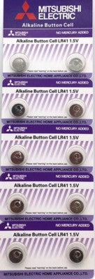 Mitsubishi Alkaline Button Cell Battery LR41 1.5V - suitable for thermometer