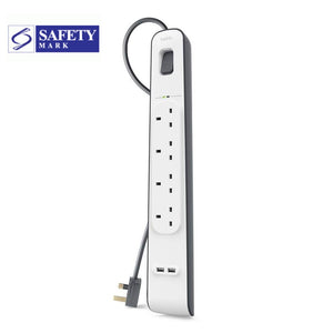 Belkin 4 Way Socket Outlet with surge protector strip and USB Port 2Meter Cord  Model: BSV401SA2M