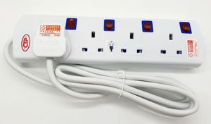 CTP 4 Way / 5 Way 2 Meter Power Socket Extension Safety Approved