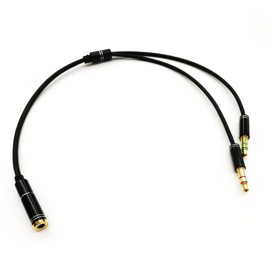 3.5mm Female to 2X 3.5mm Male (1 x Microphone +1 x Headset) 30cm