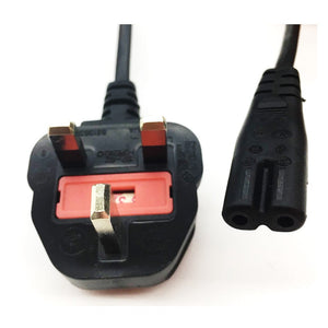 Power Cord  3Pin UK to C7 1Meter Figure 8  with Safety Approved Mark