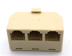 Telephone Connector RJ11 Splitter 1 Male to 3 Female