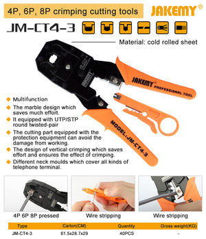 Jakemy Jm-Ct4-3 Network Crimping Pliers + Punch Tool