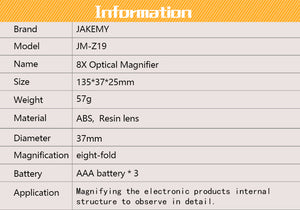 Hand Held Magnifying Glass 8x Optical Magnifier with 2 LED's JM-Z19 / JMZ19 Jakemy