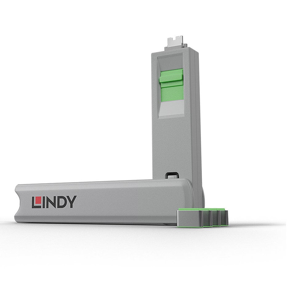 Lindy USB Type C Blocker - Pack of 4 + Key Green 40426
