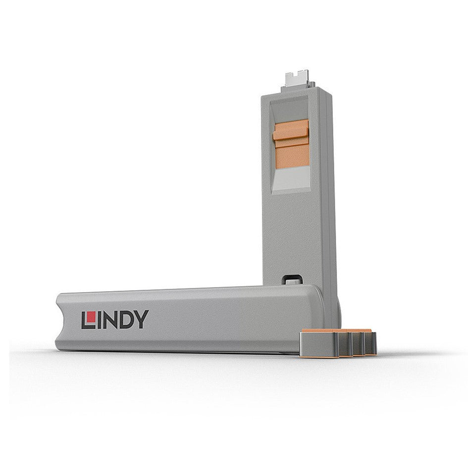 Lindy USB Type C Blocker - Pack of 4 + Key Orange 40428