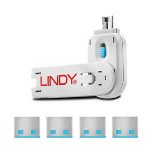 Lindy USB Type A Blocker - Pack of 4 + Key Blue #40452