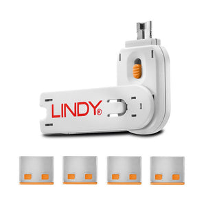 Lindy USB Type A Blocker - Pack of 4 + Key Orange