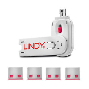 Lindy USB Type A Blocker - Pack of 4 + Key Pink #40450