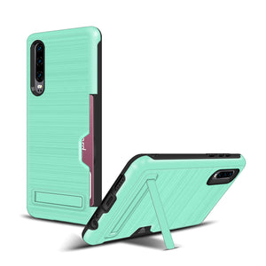Huawei P30 Case Brushed Plastic + TPU Protective Shell with Card Holder and Kickstand
