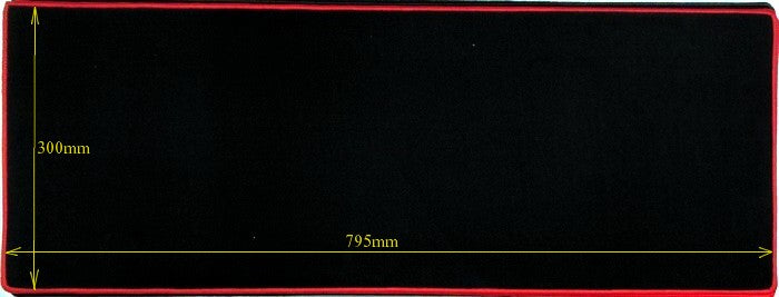 Anti Slip Gaming Mouse Pad 300x800x3mm Black with Red Trim