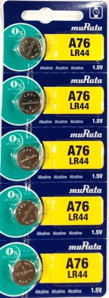 Murata Alkaline Button Cell Battery LR44 1.5V - 5pc pak for thermometer, watch