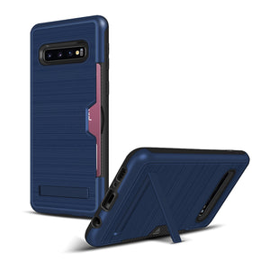 Samsung S10 Pro Brushed Plastic + TPU Protective Shell with Card Holder and Kickstand