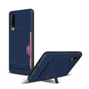 Huawei P30 Brushed Plastic + TPU Protective Shell with Card Holder and Kickstand