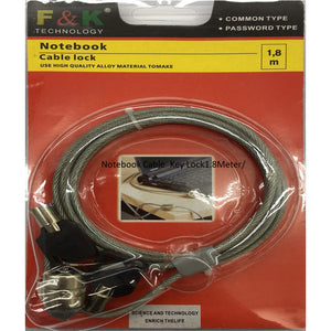 Notebook Cable Lock Key 1.8 Meter F&K
