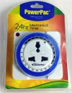 Powerpac Timer Switch PP124 24Hrs + Adaptor (UK3Pin)