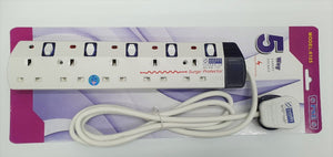 PSE Power Socket 5 Way 2 Meter w Surge Protector 6125-2M Safety Mark