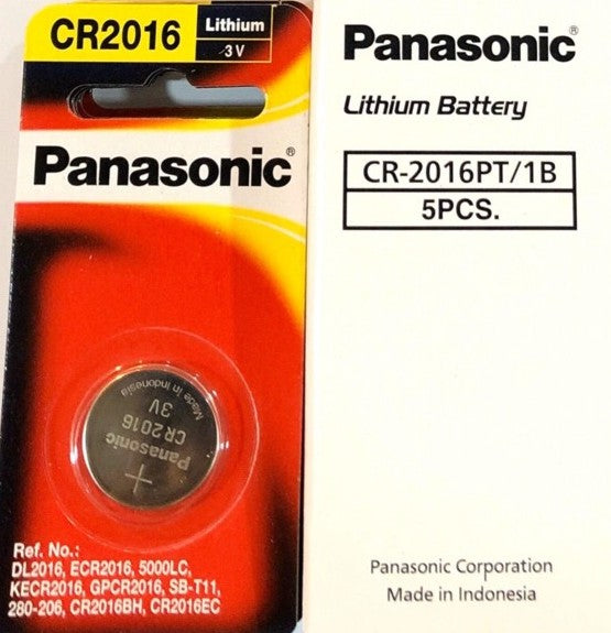 Panasonic Lithium 3V CR2016 Battery 5pc Pak