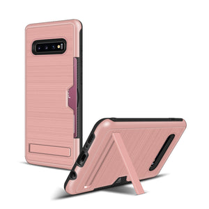 Samsung S10+ Case Brushed Plastic + TPU Protective Shell with Card Holder and Kickstand