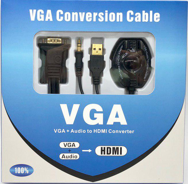 Cable VGA (Male) to HDMI (Female))  0.3Meter with Audio Notebook/PC to HDMI display