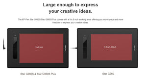 "XP-Pen Star G960S Plus Graphic Tablet / Drawing Pad 9"" x 6"""