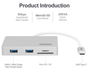 Unitek Y9319 Usb3 Type C Multiport Hub With Power Delivery ( 2-Port Sd / Microsd Card Reader + 2-Port Usb3.0)