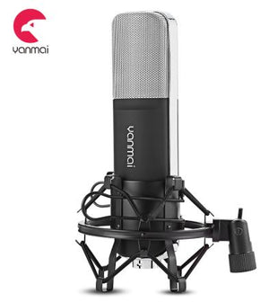 High Quality Recording Microphone Q8 with 3.5MM Audio Jack + Adjustable Shock Mount for PC Desktop Laptop Suitable for Singing / Conferencing