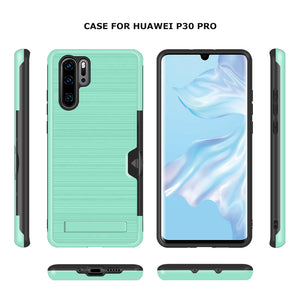 Huawei P30 Pro Brushed Plastic + TPU Protective Shell with Card Holder and Kickstand