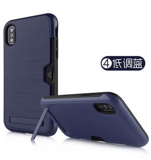 Iphone XS Max Case Brushed Plastic + TPU Protective Shell with Card Holder and Kickstand