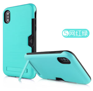 Iphone XR Case Brushed Plastic + TPU Protective Shell with Card Holder and Kickstand