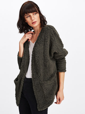 Deep Green Teddy Coat