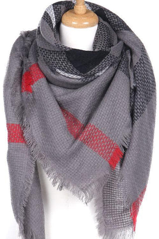 Gray and Red Plaid Blanket Scarf