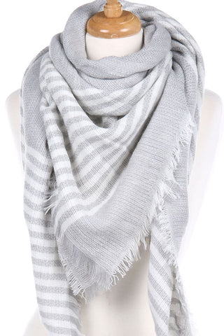 Light Gray Striped Blanket Scarf