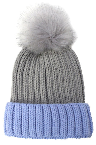 Gray and Periwinkle Pom Pom