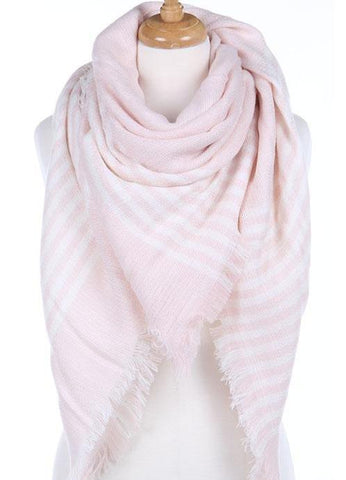 Light Pink Striped Blanket Scarf