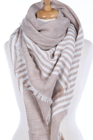 Tan Striped Blanket Scarf