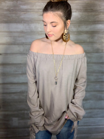 Off-the-Shoulder Khaki Top/Dress
