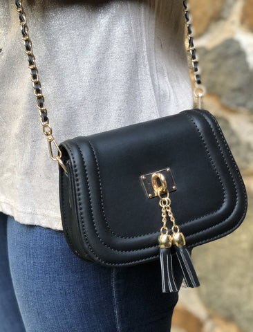 Black and Gold Tassel Purse