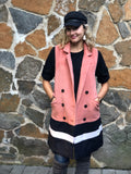 Coral and Black Color Blocked Vest