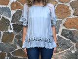 Silk Top with Crotchet Detailing