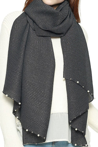 Gray Scarf with Pearl Detailing