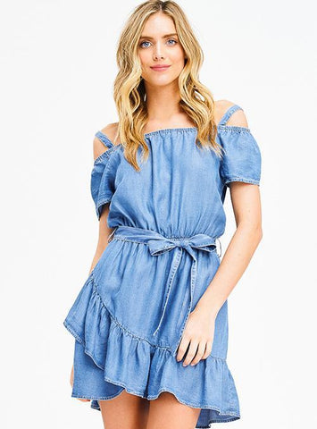 Cold Shoulder Chambray Ruffle Dress